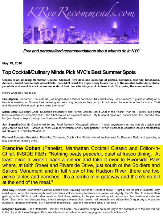 Manhattan Cocktail Classic Press Release