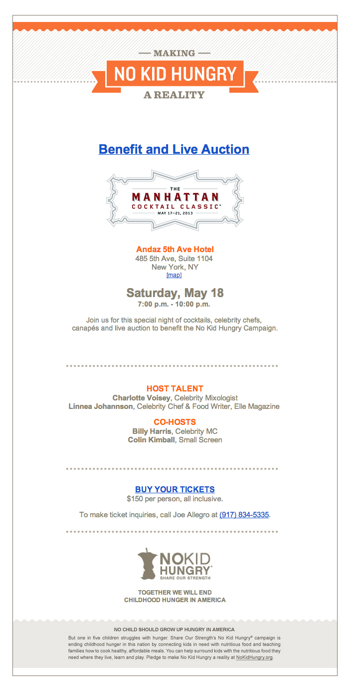 NoKidHungry MCC auction invitation