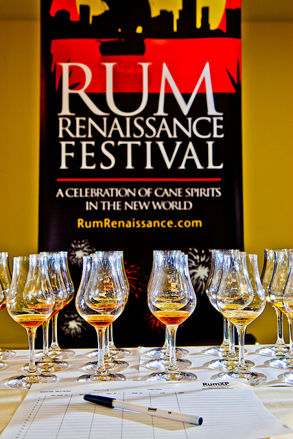 Rum Renaissance 2012 banner with glasses in front