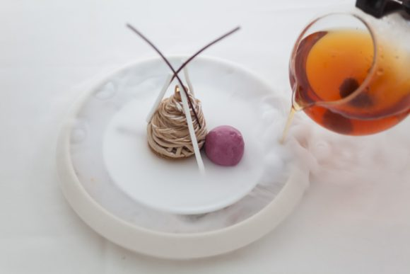 Dishes from the new Bocuse Restaurant, Mont Blanc hazelnut Dessert
