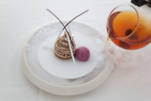 Dishes from the new Bocuse Restaurant, Mont Blanc hazelnut Dessert