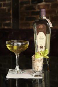 Rutte Genever bottle with cocktails photo by Margaret Pattillo